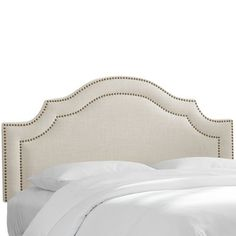 Skyline Furniture Nail Button Arched Headboard in Linen (Pewter Finish - Linen Swedish Blue - California King), Green