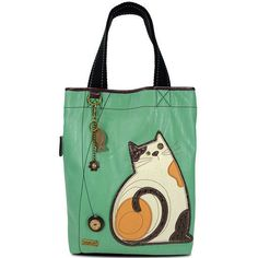 CHALA HANDBAGS LAZZY CAT EVERYDAY TOTE BAG TEAL FAUX LEATHER W FISH KEY CHAIN  #ChalaHandbags #TotesShoppers