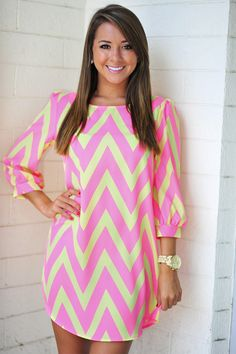 RESTOCK: Cheery For Chevron Dress: Neon Pink