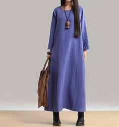 long sleeve maxi dress linen dress autumn dress by customsize, $86.00