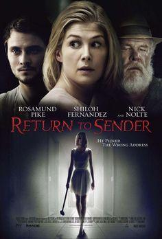 SINOPSIS: (Return to Sender) Rosamund Pike interpreta a una enfermera que se prepara para una cita a ciegas con un soltero igual de exigente que ella pero se encontrará con una sorpresa nada grata, tras lo cual buscará venganza.