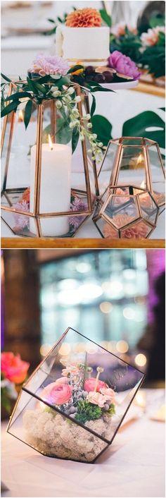 geometric terrarium wedding centerpieces #wedding #weddingideas #centerpeices #weddingtables / http://www.deerpearlflowers.com/wedding-centerpiece-ideas/