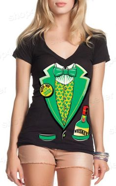 Saint Patrick's Day Costume Women's V-Neck T-Shirt Irish Day Tuxedo Shirts Beer