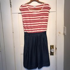 "NWT Red White & Blue dress Odille dress from Anthropologie. Red and white striped top with denim look skirt. Side pockets and side zip. Waist 14"" across, length 40"". Anthropologie Dresses Midi"