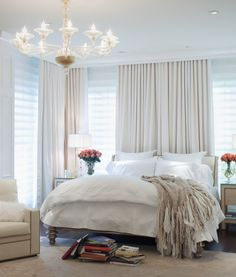 Master Bedroom Decorating Ideas with White Curtains and Drapes Picture