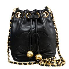 74e087c216d1 Chanel Black Lambskin Mini Bucket Bag