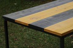Dyed Hinoki Cypress Iron Table Furniture