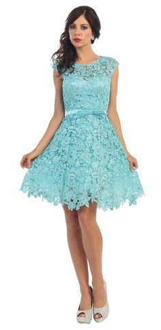 Short Lace Prom Formal Cocktail Dress Bridesmaids - The Dress Outlet - 1