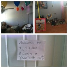 """Balloon surprise for my one year with my boyfriend. I printed pictures we took throughout the year together then put them on the ends of balloons and wrote funny captions around the photos describing them. thanks pinterest for the idea!"""
