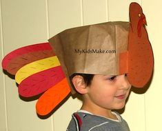 My Kids Make... Paper Bag Turkey Hat Oh, I so want to do this with my story time kids next Thanksgiving!