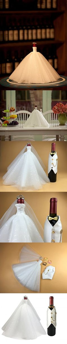 Wine Home Decor, Wine Covers in Bride and Groom Pattern, Wedding Party Favors,Wine Bottle Centerpieces Decor (White dress x White tuxedo)