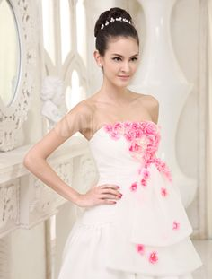 Vestido de novia de organza de color marfil sin tirantes de cola larga - Milanoo.com