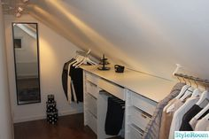 Walk in closet low ceiling Attic Bedroom Closets, Attic Bedroom Designs, Attic Closet, Bedroom Closet Design, Upstairs Bedroom, Closet Designs, Bedroom Decor, Master Bedroom, Walk In Closet Small