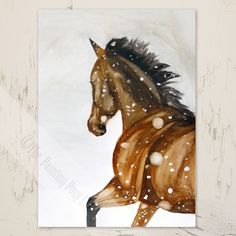 Galloping Horse in Falling Snow Christmas Greeting Card
