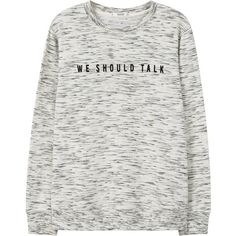 Message Cotton Sweatshirt ($26) ❤ liked on Polyvore featuring tops, hoodies, sweatshirts, patterned sweatshirts, long sleeve sweatshirt, print sweatshirt, round top and patterned tops