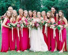 this wedding make me happy 🌺 vneck cinch gowns in 'azalea' • • • #bridesbabes #bridesmaids #bridesmaiddresses #bridesmaiddress #brightwedding #happywedding #flamingotheme #stylemepretty #smpweddings #engaged #weddinginspo #weddingplanning #weddingideas #bride #bridetobe #charleston #charlestonwedding #charlestonweddings #southernweddings #southernbride