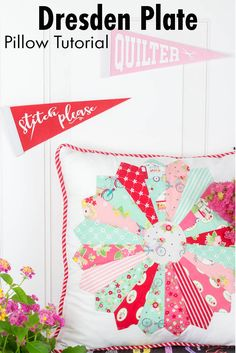 How to Make a Dresden Plate Pillow Video! Easily Attach a Dresden Plate to Pillow Quilting For Beginners, Quilting Tutorials, Quilting Projects, Sewing Projects, Quilting Ideas, Sewing Tutorials, Beginner Quilting, Beginners Sewing, Sewing Ideas