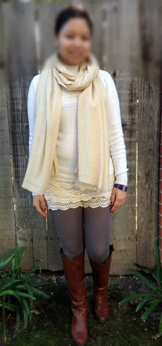 Lace skort, tights and riding boots