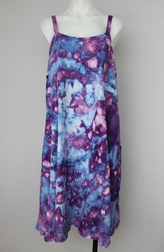 Tie dyed Rayon Sun dress Ice Dyed  Size X by ASPOONFULOFCOLORS