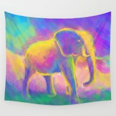 Elephant painting (colorful bright painting) Wall Tapestry