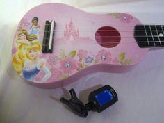 UKULELE DISNEY PRINCESS Cinderella Belle Tiana Pink Mini-Guitar Uke w Tuner #Disney #music #ukuleleplayers #ukesrock #iLoveMyUkulele