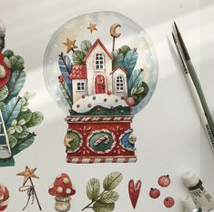 Discover recipes, home ideas, style inspiration and other ideas to try. Illustration Noel, Christmas Illustration, Watercolor Illustration, Christmas Drawing, Christmas Love, Christmas Crafts, Minimal Christmas, Natural Christmas, Watercolor Drawing