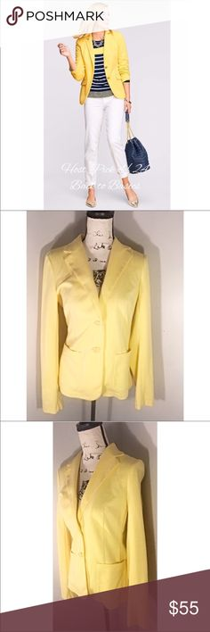"""NWT Talbots Aberdeen  Blazer ❤️Host Pick ❤️Back to the Basics. Beautiful NWT Talbots """"Aberdeen """" Blazer in yellow. This blazer is perfect for any wardrobe. Size Small. Jersey Knit Material 😍  Make this ☝🏾️treasure yours today ☺️. Don't be scared  to make an offer, you never know unless you try. Bundle multiple items for the best savings. Pay one low price  shipping 🎁! Thanks for stepping into my closet  😘 Talbots Jackets & Coats Blazers"""