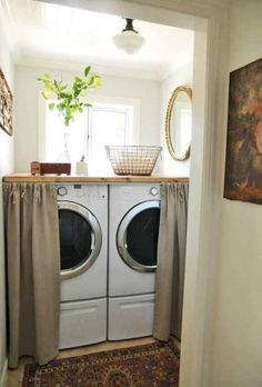 love this idea in the laundry room, adding DIY curtains to hide the washer and dryer.  the counter top on top of the washer and dryer for storage and decor.. great for a small laundry room!
