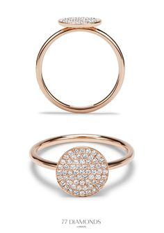 This statement disc ring is dazzling and unique, its exquisite micro pave set brilliant round diamonds on the disc are eye catching and luxurious. #rosegold