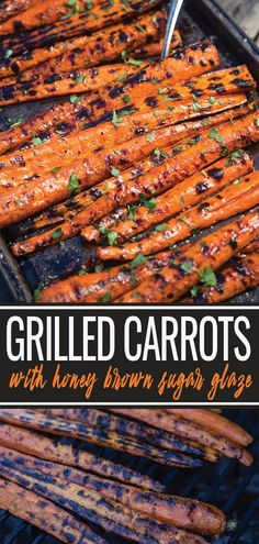 Grilled and Glazed Carrots Recipe - A great holiday side dish - Vindulge Grilled Carrots with a Honey Brown Sugar Glaze are a fantastic side dish to any holiday or casual meal. These glazed carrots are sure to win your guests over (and your kids too! Grilled Carrots, Grilled Vegetables, Grilled Meat, Grilled Recipes, Grilled Shrimp, Veggies, Grilled Vegetable Recipes, Chicken Recipes, Grilled Chicken