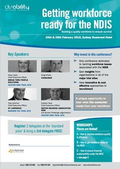 Getting Workforce Ready for the NDIS at Bayview Boulevard Sydney, 90 William Street, Sydney, NSW, 2011, Australia, on 24-25 February, 2015 at 8:30-17:00. Building a quality workforce to ensure survival. URL: Booking: http://atnd.it/16879-0. Price: Standard: $2999. Category: Conferences | Government and Social Sector. Speakers: Ross Lewis, Greg Killeen, Toby O'Connor, Graham Opie.