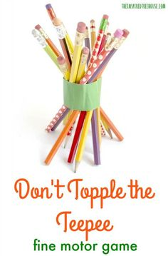 Thanksgiving Games: Don't Topple the Teepee! - The Inspired Treehouse Thanksgiving Games: Don't Topple the Teepee! - The Inspired Treehouse Thanksgiving Games For Kids, Holiday Games, Thanksgiving Parties, Thanksgiving Crafts, Holiday Fun, Kindergarten Thanksgiving, Thanksgiving Traditions, Holiday Activities, Happy Thanksgiving