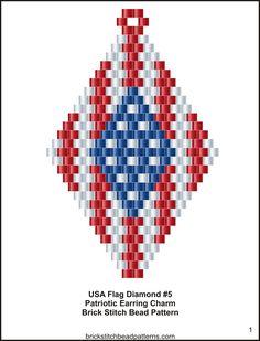 USA-Flag-Diamond-5-Earring-Brick-Stitch-Bead-Pattern-color-chart.jpg (1220×1600)