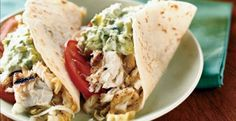 Fish Tacos with Creamy Lime Guacamole and Cabbage Slaw Recipe http://www.kitchendaily.com/recipe/fish-tacos-creamy-lime-guacamole-and-cabbage-slaw