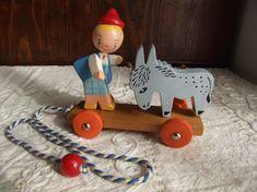 Rare jouet en bois Vintage SEVI des années 1960: panier de Pull Toy, Wooden Toys, Dolls, Vintage, Rabbits, Basket, Figurine, Gift, Wooden Toy Plans