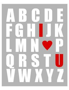Grey, Red, and White Kid's Alphabet Art Print - ABC Baby Nursery Wall Art 8x10 Any Color I Heart U. $18.00, via Etsy.
