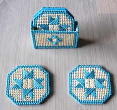Eight Pointed Star Coasters $ Holder Set