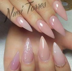 Light Pink Glitter Stiletto Acrylic Nails
