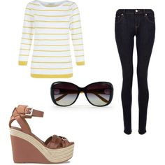 A fashion look from May 2015 featuring sleeve cotton tees, jeggings pants and brown wedge heel sandals. Browse and shop related looks. Denim And Supply, Hobbs, Polyvore Fashion, Ralph Lauren, Stripes, Shoe Bag, Stuff To Buy, Shopping, Collection