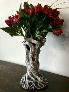 Sculpted tree vase, cast in resin and hand painted. 11 tall Sculpted tree vase, cast in resin and hand painted. Gothic Home Decor, Gothic House, Home And Deco, Ikebana, Flower Arrangements, Sculpting, Sweet Home, Creations, Crafts