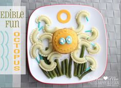 fun food idea octopus.  Galletti pasta tentacles, corn muffin and cheese head, green bean seaweed
