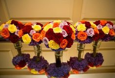 Five bridal bouquets with mirror