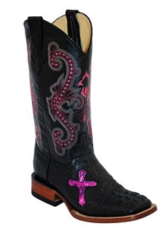 Ferrini Women's Caiman Print Black Square Toe Western Co.- Ferrini Women& Caiman Print Black All Leather Square Toe Western Cowboy Boots with Pink Cross Inlay. Style Upper: Black Leather with Pink - Black Cowboy Boots, Cowboy Boots Women, Cowgirl Boots, Ladies Boots, Botas Western, Western Wear, Western Boots, Western Cowboy, Cowboy Shop