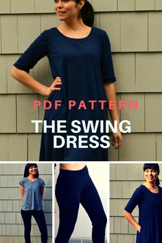 Fully Graded Swing Dress, Top, Tunic and Leggings Pattern:Get 4 patterns in 1! A beautiful swing dress, top and tunic, plus a basic leggings. Check now