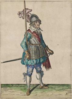 The Antiquarium - Antique Print & Map Gallery - Jacob De Gheyn - Dutch Soldier - Hand-colored copperplate engraving
