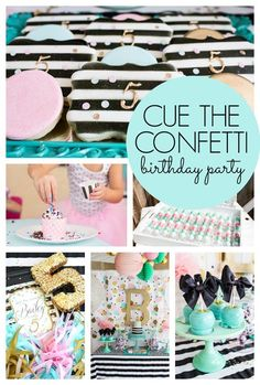 Cue the Confetti! This is quite possibly the most amazing party for a 5 year old! - Pretty My Party #confetti #birthday #party #partyplanning #partyideas