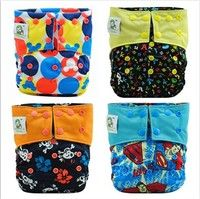 Wish | Reusable Diapers of 4 Coolababy Bamboo Charcoal Baby Cloth Diapers+4 Bamboo Charcoal Inserts(02)