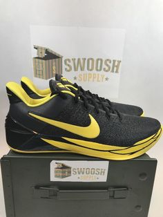 0d1f98539c9f Nike Kobe A.D. Oregon Ducks PE Black Yellow Strike Bryant 922026-001 Size 14