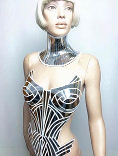 burlesque cybergoth corset sci fi cosume lady gaga fetish