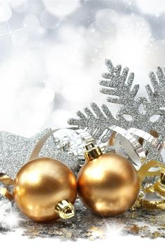 Christmas Decoration - Photography Wallpaper ID 1237049 - Desktop Nexus Abstract Noel Christmas, Winter Christmas, Christmas Bulbs, Christmas Cards, Christmas Snowflakes, Holiday Wallpaper, Of Wallpaper, Christmas Lights Background, Gold Christmas Decorations
